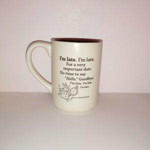 2/$20 Disney Alice White Rabbit I'm Late Mug